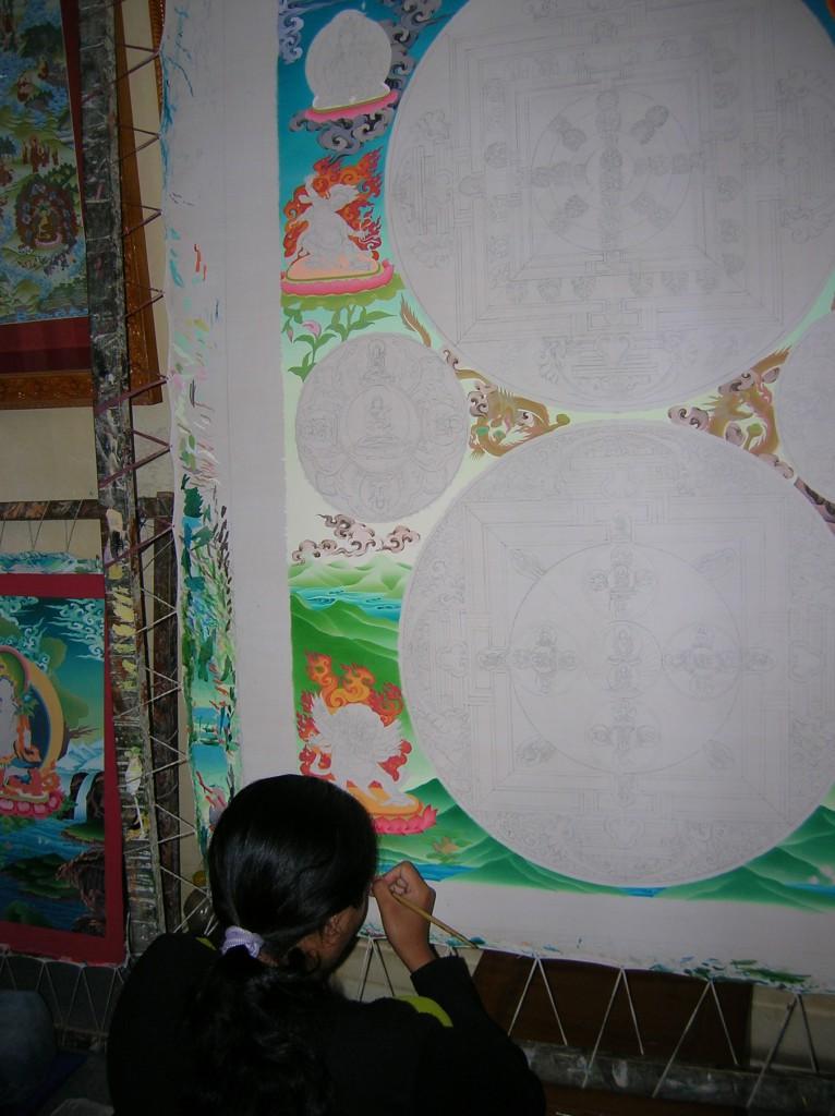 Thangka-Malerin in Pasadur (Nepal)