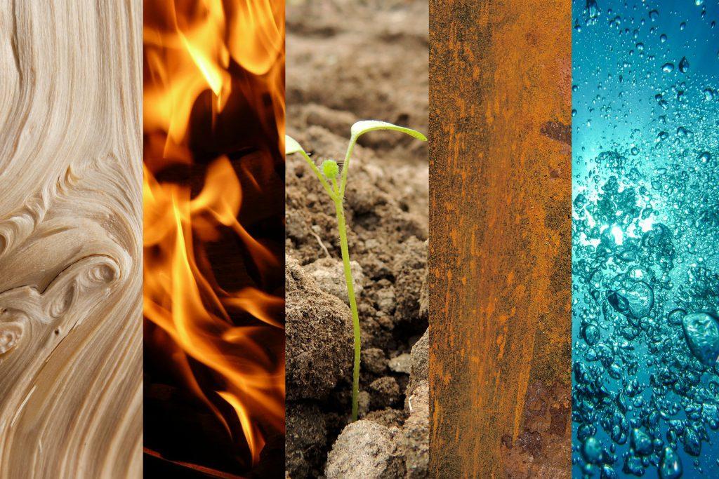Holz, Feuer, Erde, Metall, Wasser